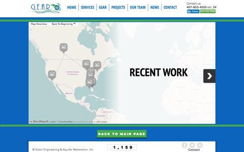Screenshot of Maps & Directions Page gearengineer.com - GEAR   Map: Recent Work - captured July 17, 2017