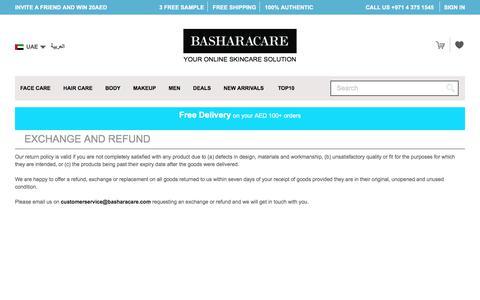 Basharacare Exchange and Return