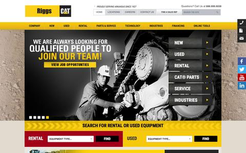 Screenshot of Home Page riggscat.com - New & Used Cat Heavy Construction Machinery Equipment for Sale & Rent | Riggs CAT - captured Feb. 22, 2016