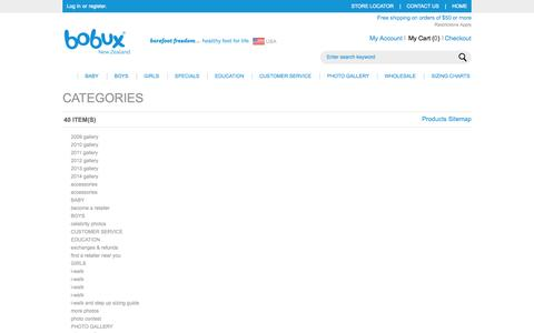 Screenshot of Site Map Page bobuxusa.com - Bobux Baby Shoes - soft soled baby shoes, leather baby shoes, infant shoes and toddler walking shoes Site Map - captured Oct. 5, 2014