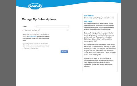 Screenshot of Landing Page hach.com - Manage My Subscriptions - captured Nov. 9, 2019