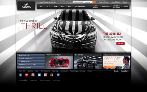 Screenshot of Home Page acura.com - Acura.com Đ Official Home of Acura Cars and SUVs - captured Oct. 24, 2015