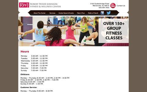 Screenshot of Hours Page rwjhamiltonwellness.com - Hours - RWJ Fitness & Wellness Center - captured Feb. 15, 2016