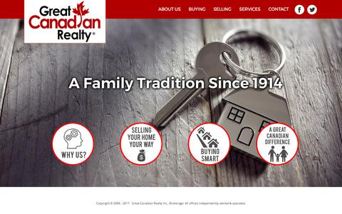 Screenshot of Home Page greatcanadianrealty.ca - Great Canadian Realty | A Family Tradition Since 1914 - HOME - captured Sept. 17, 2017