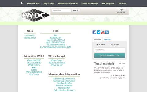 Screenshot of Site Map Page iwdc.coop - Independent Welding Distributors Cooperative | IWDC - captured Oct. 11, 2018
