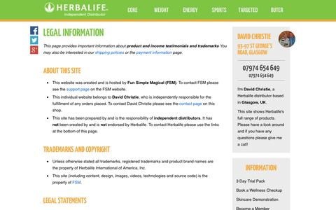 Screenshot of Terms Page controlbodyweight.com - Legal Information - David Christie's Herbalife Shop - captured Oct. 2, 2014