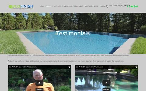 Screenshot of Testimonials Page ecopoolfinish.com - Testimonials — ecoFINISH - captured Feb. 1, 2016