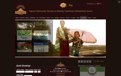 Screenshot of Testimonials Page dajuma.com - Dajuma Testimonials: Dajuma reviews on Booking, TripAdvisor, HolidayCheck, Zoover... - captured Feb. 8, 2016