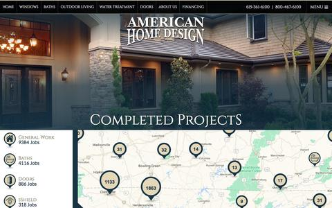 Screenshot of Maps & Directions Page americanhomedesign.com - American Home Design Completed Job Map - captured May 30, 2017