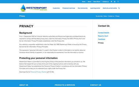 Screenshot of Privacy Page westernportwater.com.au - Privacy | Westernport Water - captured Feb. 27, 2016