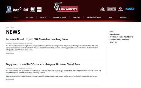 Screenshot of Press Page crusaders.co.nz - News & Information for Crusaders Rugby | Crusaders - captured Sept. 5, 2016