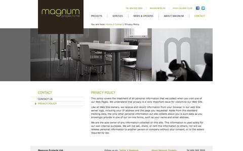 Screenshot of Privacy Page magnumprojects.ca - Contact - Privacy Policy - Magnum Projects Ltd. - captured Oct. 4, 2014