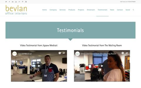 Screenshot of Testimonials Page bevlan.com - Office Furniture Showroom | Testimonials - captured Dec. 18, 2018