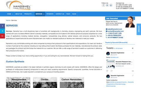 Screenshot of Services Page nanoshel.com - Services Custon Synthesis of Nanomaterials Provides Nanoshel LLC - captured Nov. 3, 2017