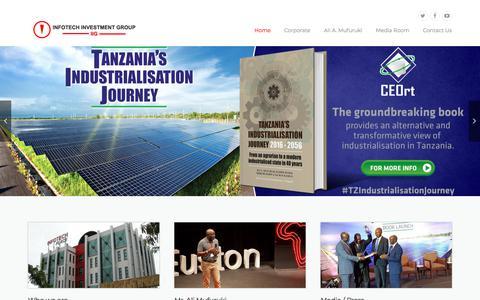 Screenshot of Home Page infotech.co.tz - Infotech Investment Group – IIG – Indigenous Tanzanian - captured Feb. 18, 2018