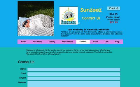 Screenshot of Contact Page sunzeez.com - Sunzeez | Baby Sunglasses - captured Dec. 11, 2016