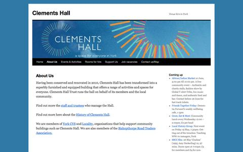 Screenshot of About Page clementshall.org.uk - About Us - Clements Hall - captured May 17, 2017