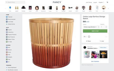 Screenshot of fancy.com - Fancy | Ombre Large Bamboo Storage Basket - captured April 29, 2017
