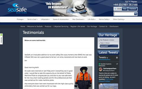 Screenshot of Testimonials Page seasafe.co.uk - Testimonials - captured Oct. 24, 2017
