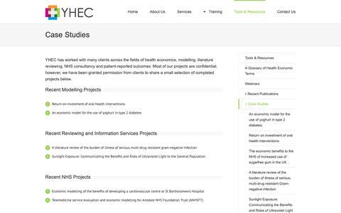 Screenshot of Case Studies Page yhec.co.uk - Case Studies - York Health Economics Consortium - captured Oct. 18, 2018
