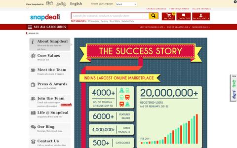 Screenshot of About Page snapdeal.com - About Us: Snapdeal.com - India's Largest Online Marketplace - captured July 20, 2014