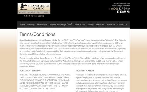 Screenshot of Terms Page grandlodgecasino.com - Grand Lodge Casino at Hyatt Regency Lake Tahoe - Terms/Conditions - captured July 23, 2018