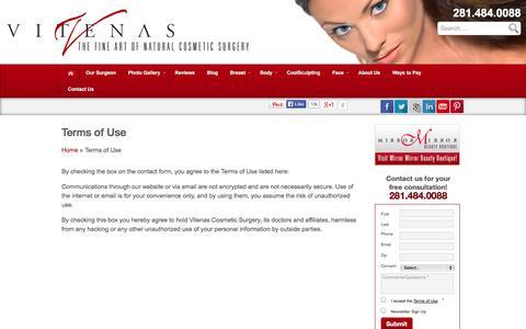 Screenshot of Terms Page drvitenas.com - Terms of Use - captured Sept. 19, 2014