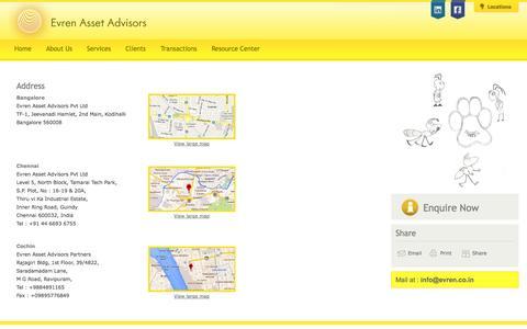 Screenshot of Locations Page evren.co.in - Evren Asset Advisors, India – Financial Advisory, Transaction Advisory Services, Financial Investment Advisor – Location - captured Oct. 3, 2014