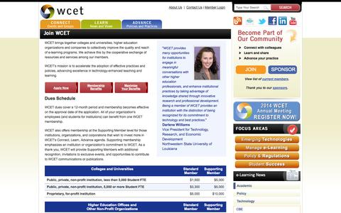 Screenshot of Signup Page wiche.edu - Join WCET   wcet.wiche.edu - captured Oct. 26, 2014