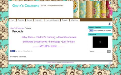 Screenshot of Products Page gretascreations.com - Products    - Greta's Creations - captured Sept. 30, 2014