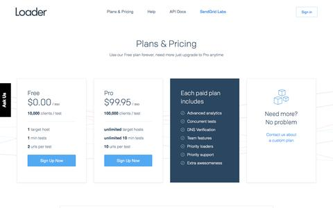 Screenshot of Pricing Page loader.io - Application Load Testing Tools for API Endpoints with loader.io - captured Feb. 1, 2017