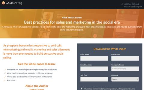 Screenshot of Landing Page gotomeeting.com - Best practices for sales and marketing in the social era - captured April 14, 2018