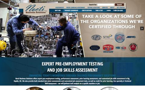 Screenshot of Home Page noctibusiness.com - Nocti Business Solutions – Job Skills Assessment, Pre-Employment Testing In Big Rapids, MI - captured Feb. 15, 2016