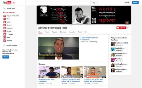 Screenshot of YouTube Page youtube.com - Advanced Hair Studio India  - YouTube - captured Oct. 23, 2014