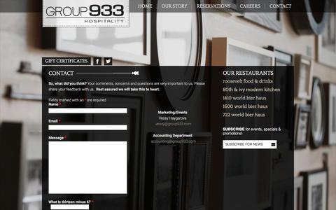 Screenshot of Contact Page group933.com - Contact - Group 933 HospitalityGroup 933 Hospitality - captured Feb. 1, 2016