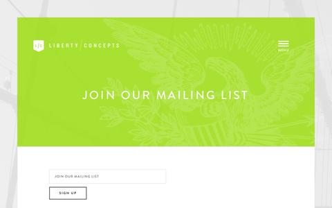 Screenshot of Signup Page libertyconcepts.com - Join Our Mailing List | Liberty Concepts - captured Dec. 9, 2015