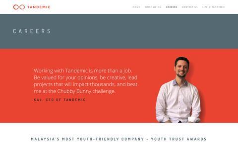 Screenshot of Jobs Page tandemic.com - Careers - Tandemic - captured Feb. 27, 2016