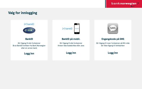 Screenshot of Login Page banknorwegian.no - Bank Norwegian - captured Jan. 20, 2020