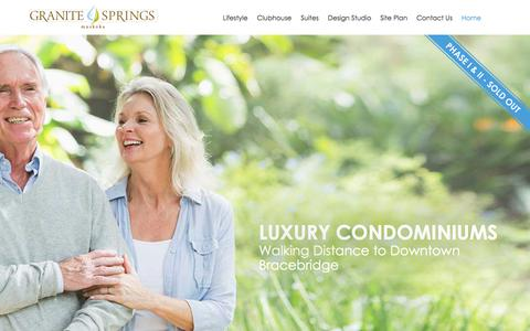 Screenshot of Home Page granitespringsmuskoka.ca - Home - Active Lifestyle Condo Muskoka - captured Sept. 10, 2017