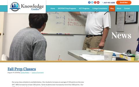 Screenshot of Blog knowledgeguides.net - SAT - ACT Prep Classes and Tutoring   Blog - captured Sept. 20, 2018