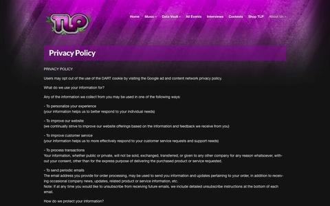 Screenshot of Privacy Page tasteslikepurp.com - Privacy Policy - Tastes Like Purple - captured Oct. 7, 2014