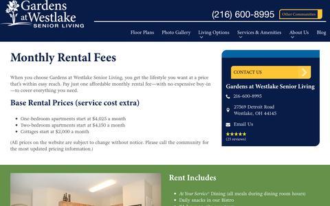 Screenshot of Pricing Page spectrumretirement.com - Monthly Rental Pricing   Gardens at Westlake Senior Living - captured Oct. 23, 2018