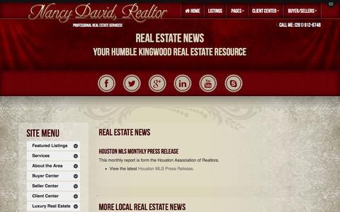 Screenshot of Press Page nancydavidrealtor.com - Real Estate News | Humble Real Estate | Kingwood Real Estate | Houston - captured Feb. 27, 2016
