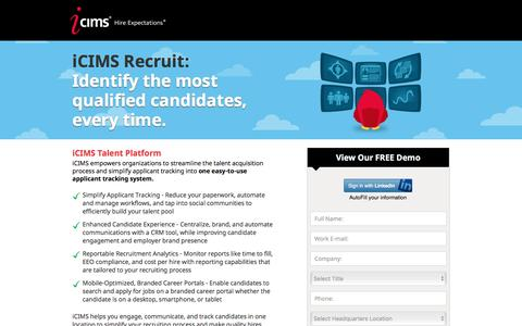 Screenshot of Landing Page icims.com - Applicant Tracking Software | Recruitment Software | iCIMS Talent Acquisition Suite - captured Feb. 16, 2016