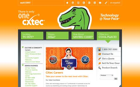 Screenshot of Jobs Page cxtec.com - CXtec Careers | Great Opportunities for Strong Candidates and Skilled Professionals. - captured Sept. 27, 2014