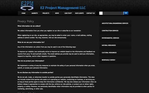 Screenshot of Privacy Page e2pm.com - E2 Project Management LLC - captured Oct. 1, 2014