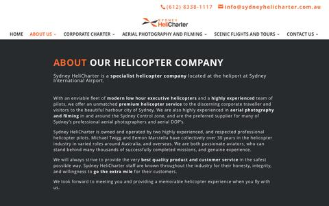 Screenshot of About Page sydneyhelicharter.com.au - Helicopter Charter, Aerial Photography, Helicopter Flights. Sydney Airport location | Sydney Helicharter - captured Dec. 21, 2016