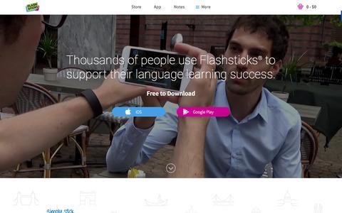 Screenshot of Home Page flashsticks.com - Home - FlashSticks - The foreign language Post-it® Notes - captured Sept. 20, 2015