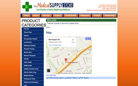 Screenshot of Maps & Directions Page themedicalsupplystore.ca - Map | The Medical Supply Store - captured Oct. 8, 2014