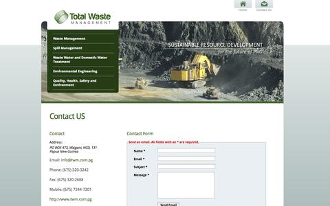 Screenshot of Contact Page twm.com.pg - Total Waste Management - Papua New Guinea - Contact Us - captured Oct. 7, 2014